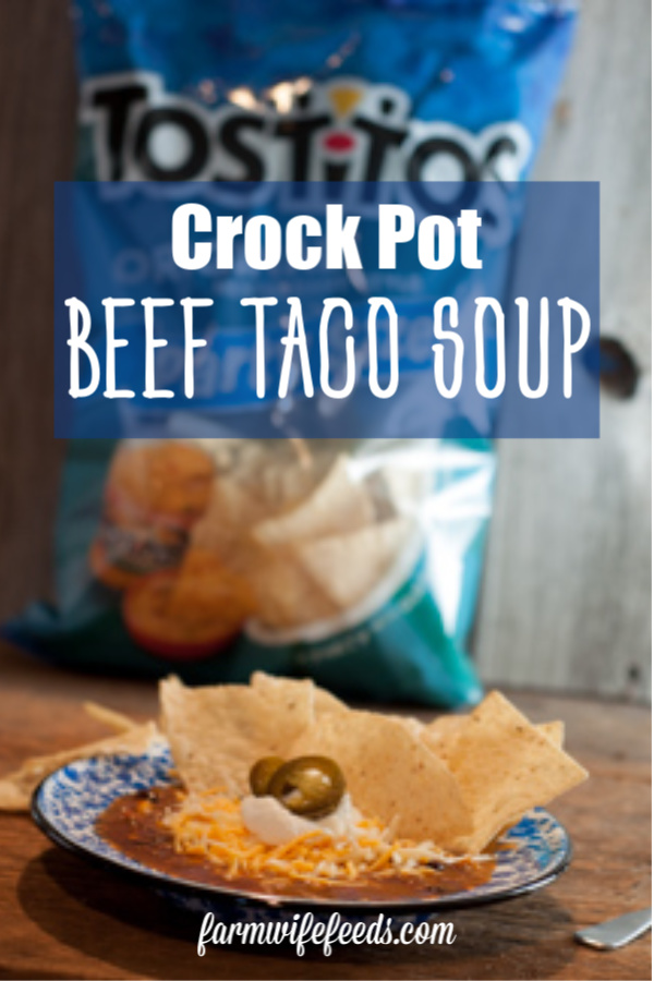 Crock Pot Beef Taco Soup from Farmwife Feeds, all the taco flavor in a quick easy soup that can be fixed in the crock pot or on the stove. #taco #soup #crockpot #recipe