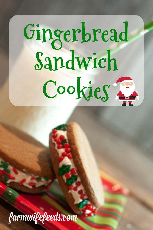 Gingerbread Sandwich Cookies from Farmwife Feeds will become a holiday favorite that kids will love making for Santa! #cookie #recipe #gingerbread