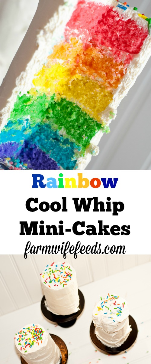 Rainbow Cool Whip Mini Cakes - fun, easy rainbow dessert that kids love!