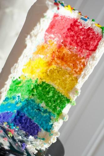Rainbow Cool Whip Mini Cakes - fun, easy rainbow dessert that kids love!