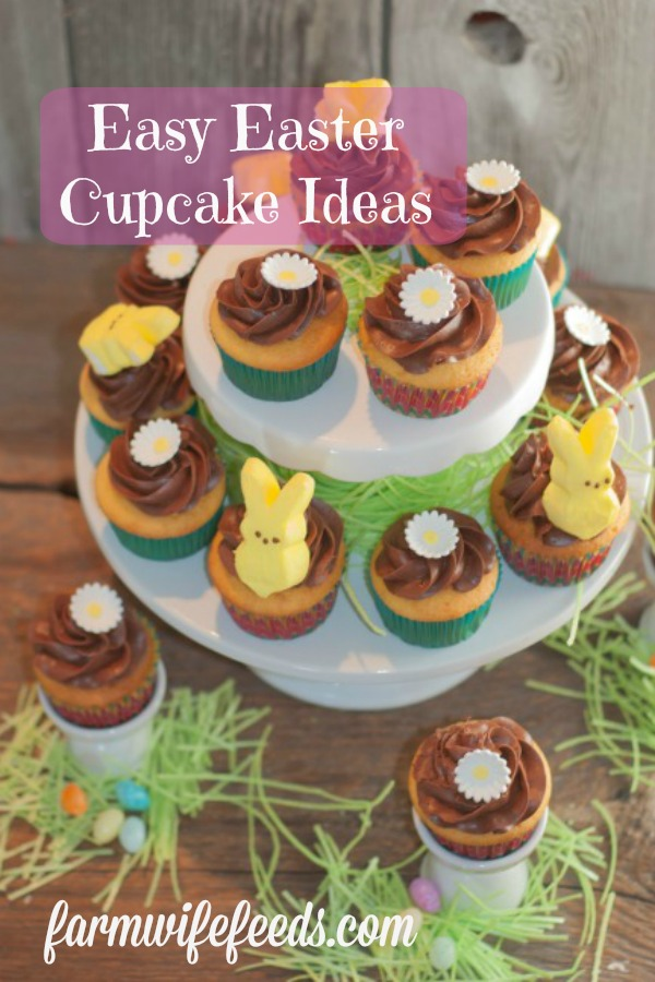 Easy Easter Cupcake Ideas from Farmwife Feeds uses box cake mix with spring decorations that anyone can make! #easter #cupcakes #spring
