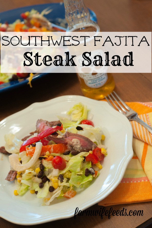 Southwest Fajita Steak Salad from Farmwife Feeds is a marinated flank steak grilled on top of a filling well balanced salad! #salad #beef #recipe #marinade