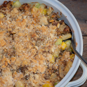 This easy baked Sausage Zucchini Casserole is perfect and includes cheese. It's a quick and easy meal or side dish.