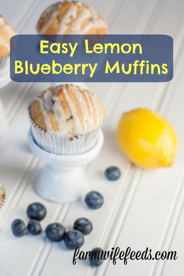 Easy Lemon Blueberry Muffins from Farmwife Feeds uses a box mix with fresh fruit to make a homemade delicious muffin! #recipe #boxmix #muffin #blueberries #lemon