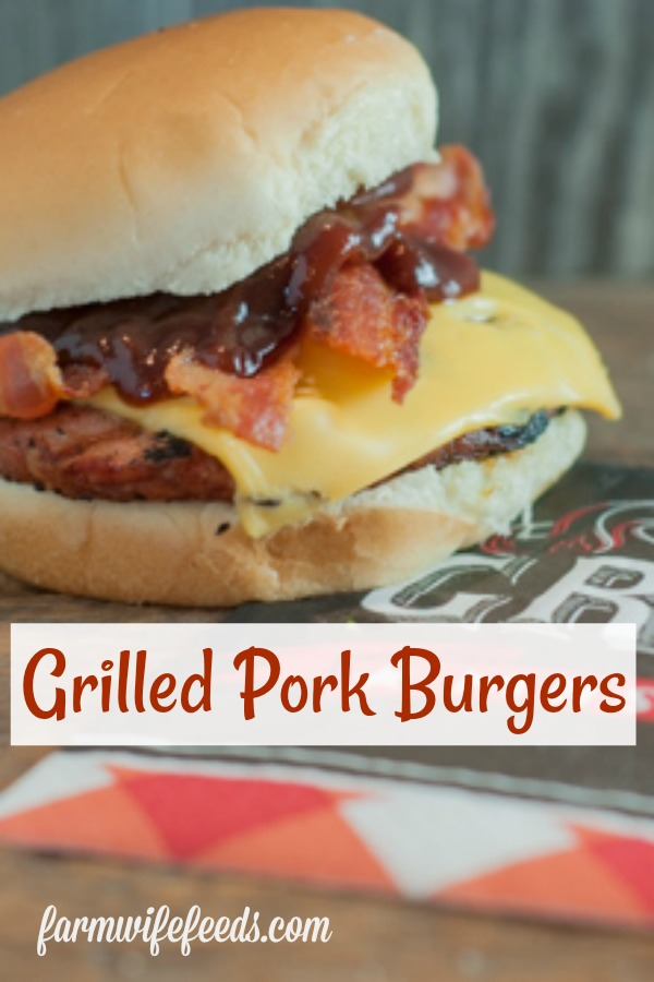 Grilled Pork Burgers from Farmwife Feeds are a super easy twist on grilled burgers made with ground pork instead of ground beef. #pork #grill