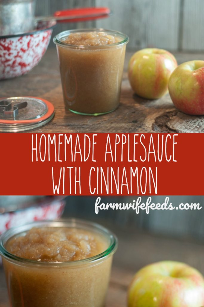 Super easy homemade applesauce with cinnamon from Farmwife Feeds-make a little or make a lot, great for canning! #apples #applesauce #canning #easy
