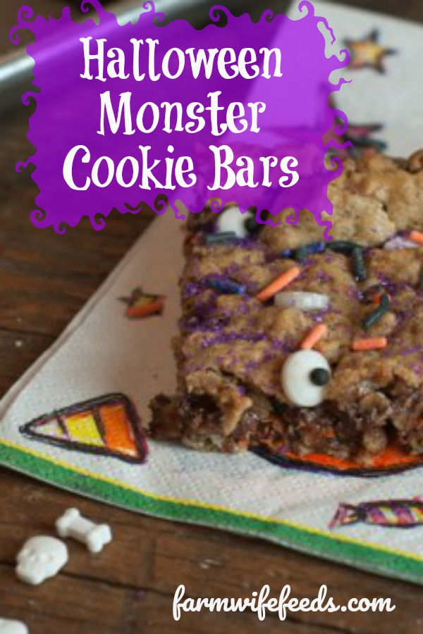 Halloween Monster Cookie Bars are a super easy treat for kids with a halloween twist for fun! Farmwife Feeds #halloween #cookiebars #treat