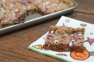Halloween Monster Cookie Bars are a super easy treat for kids with a halloween twist for fun!