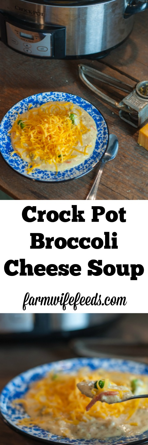This Crock Pot Broccoli Cheese Soup is a super easy dump and go recipe!
