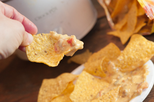 Crock Pot Chili ConQueso Dip with just three ingredients is always a crowd pleaser.