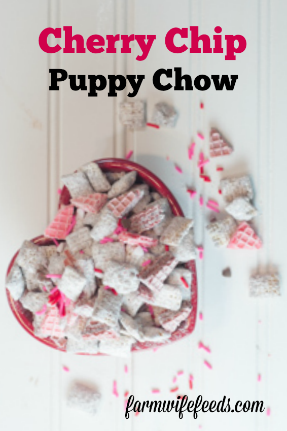 Cherry Chip Puppy Chow from Farmwife Feeds uses cherry chip cake mix and white chocolate for a sweet flavorful treat! #puppychow #valentine #recipe