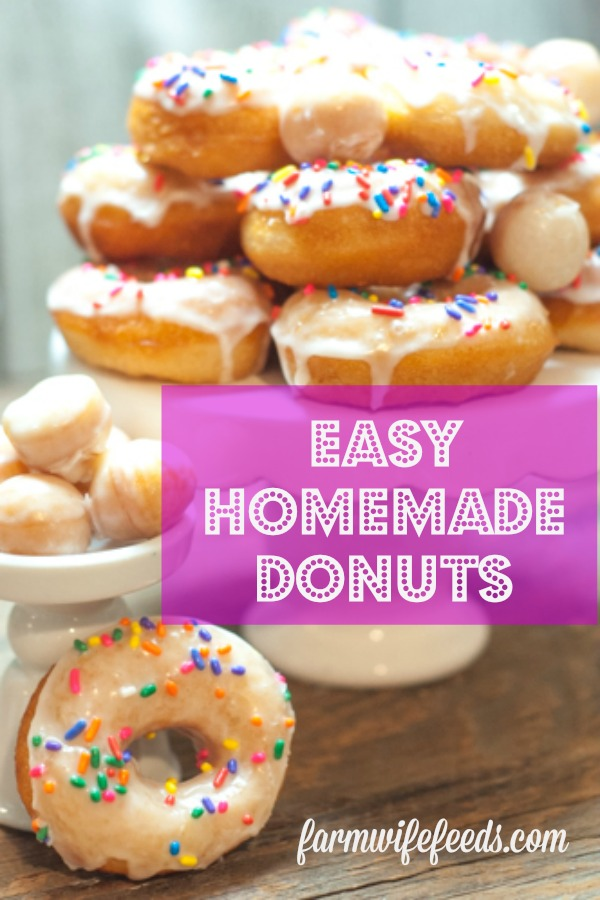 Easy Homemade Donuts from Farmwife Feeds are a great treat for a weekend breakfast or a fun after school snack! #donuts #easy #cannedbiscuits