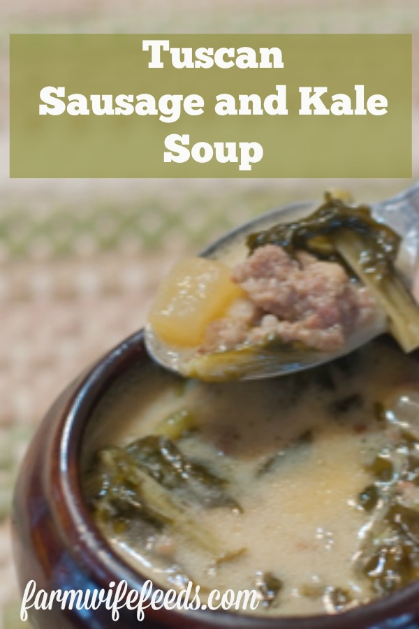 Tuscan Sausage and Kale Soup from Farmwife Feeds, a few simple ingredients and little bit of time on the stove for delicious hearty good for you soup! #sausage #kale #soup
