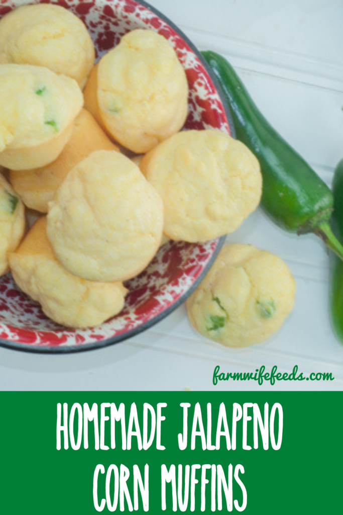 Homemade Jalapeno Corn Muffin from Farmwife Feeds, a quick homemade cornbread muffin with a little heat. #jalapeno #cornbread #muffin
