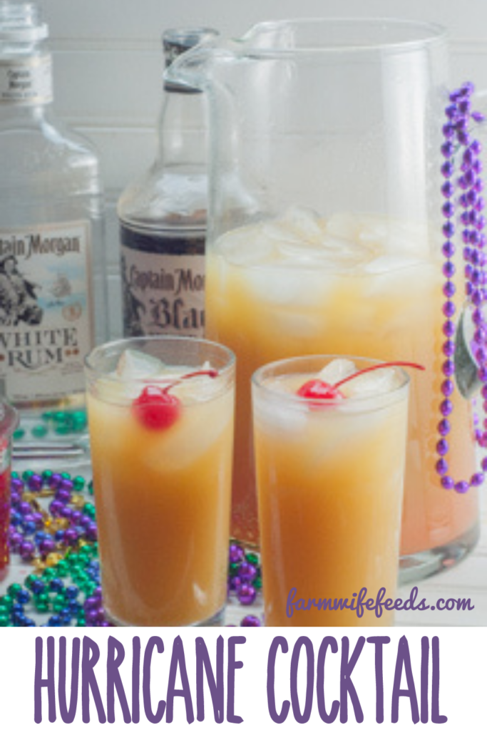 Hurricane Cocktail from Farmwife Feeds is a New Orleans classic made by this Yankee, celebrate Mardi Gras at home! #mardigras #hurricane #cocktail