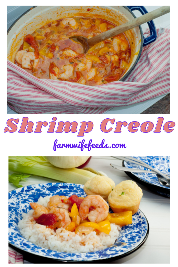 Shrimp Creole from Farmwife Feeds is a one pot easy southern classic that everyone can make. #shrimpcreole #shrimp #dutchoven