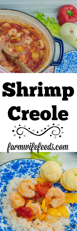 One pot Shrimp Creole I make in my dutch oven from Farmwife Feeds #recipes #shrimp #cajun