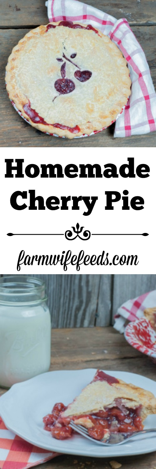 Homemade Cherry Pie, easy traditional recipe from Farmwife Feeds #pie #recipes #cherry