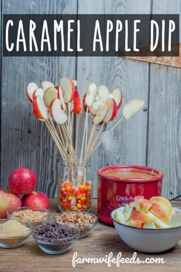 Caramel Apple Dip from Farmwife Feeds is a crock pot easy way for an apple dipping bar for fall fun. #apples #caramel #carameldip #crockpot