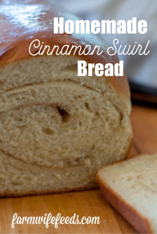 Homemade Cinnamon Swirl Bread from Farmwife Feeds, yeast bread rolled with cinnamon sugar mixture. #homemade #bread