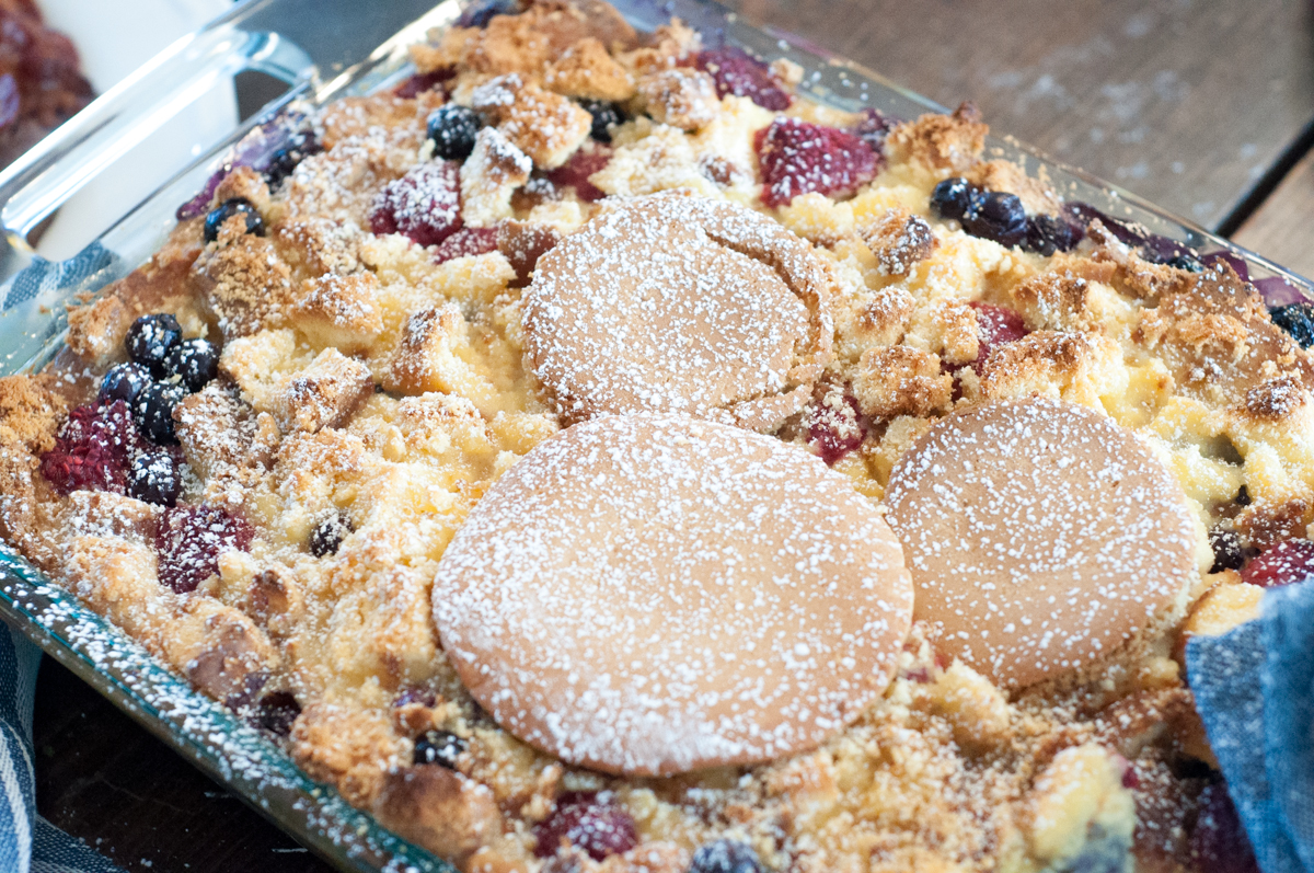 Mickey's Breakfast Lasagna from Farmwife Feeds, a bread pudding made with pancakes and pound cake, fresh berries, sweet custard and pastry cream.