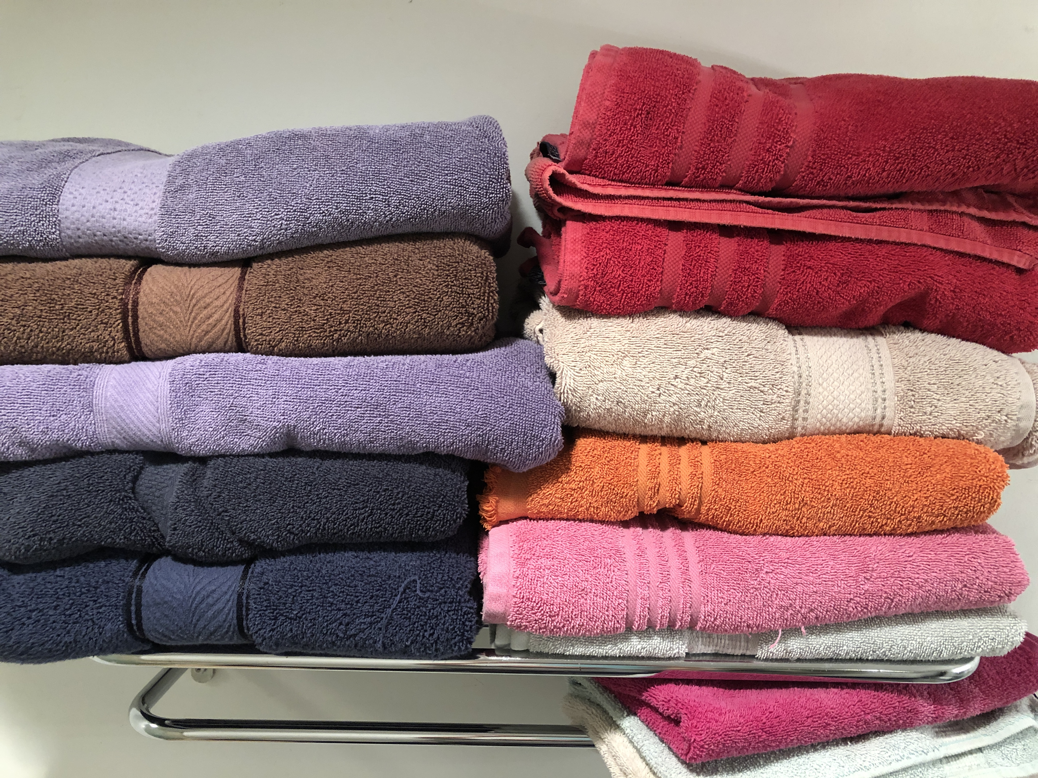 My bath towels lead a double life - in the house and in the barn!
