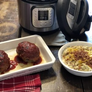 Instant Pot Meatloaf and Loaded Smashed Potatoes from Farmwife Feeds, an easy full meal in one pot. #meatloat #instantpot #potatoes