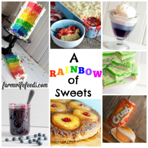 A Rainbow of Sweets from Farmwife Feeds to celebrate the colors for Birthday's, St Patricks Day or Sunday school. #rainbow #colors #recipes #sweets #dessert