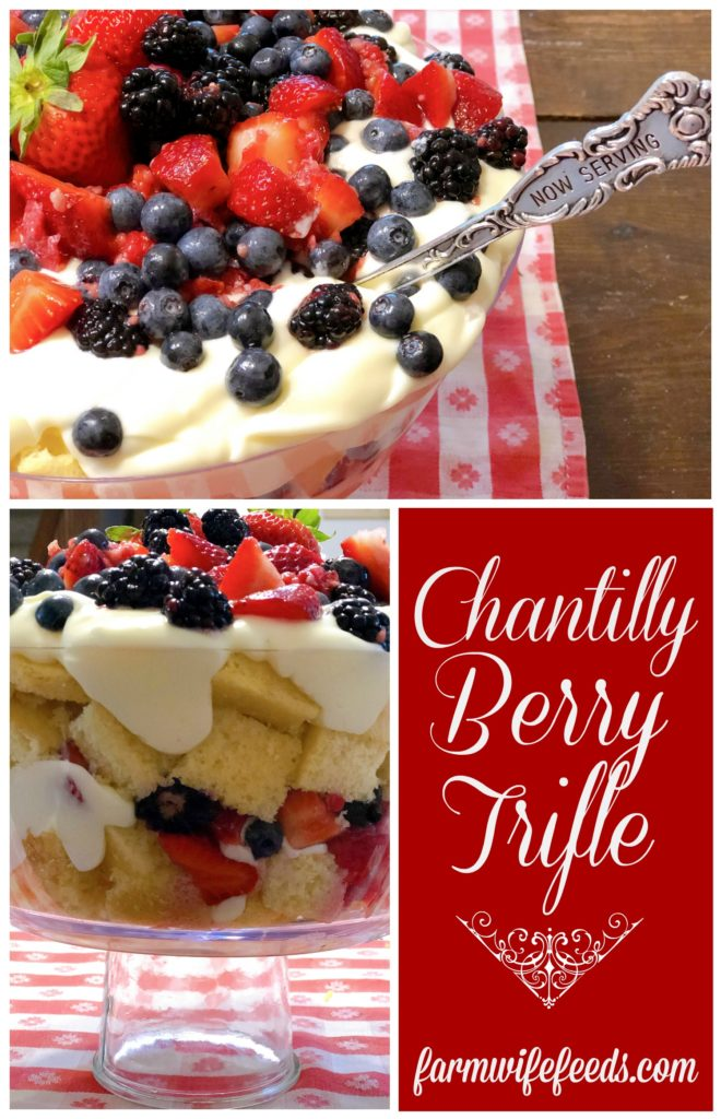 Chantilly Berry Trifle from Farmwife Feeds is an easy fresh berry version of Chantilly Cake. #recipe #freshberries #trifle