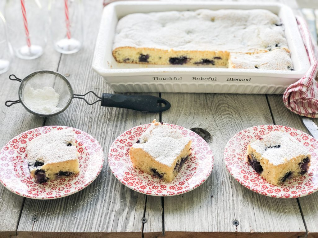 Easy Blueberry Cream Cheese Cake from Farmwife Feeds is super simple as a coffee cake or a dessert. #blueberry #cake #coffeecake #blueberries #recipe