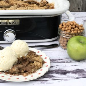 Crock Pot Apple Cobble from Farmwife Feeds is an easy dessert with fresh apple that's easy to toss in the slow cooker for a great dessert. #apples #recipe #dessert #cobbler