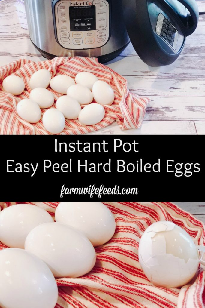 Instant Pot Hard Boiled Eggs from Farmwife Feeds are an easy sure fire way for easy to peel hard boiled eggs. #eggs #instantpot #recipe