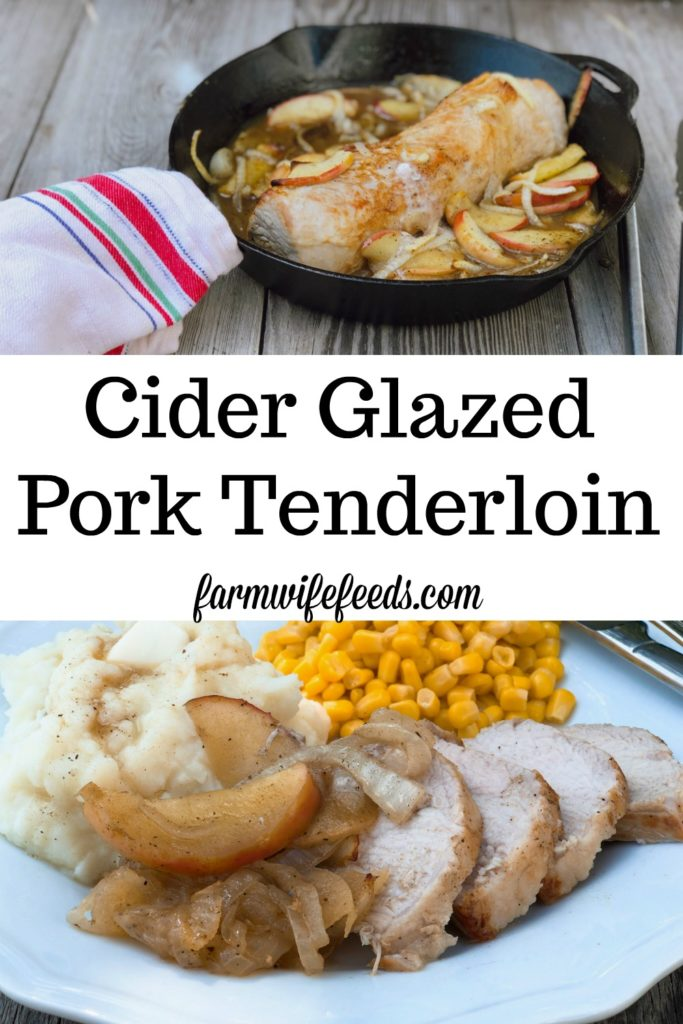 Cider Glazed Pork Tenderloin from Farmwife Feeds is a perfect mix of fall flavors ready in under 30 minutes. #30minutemeals #pork #fall #apples
