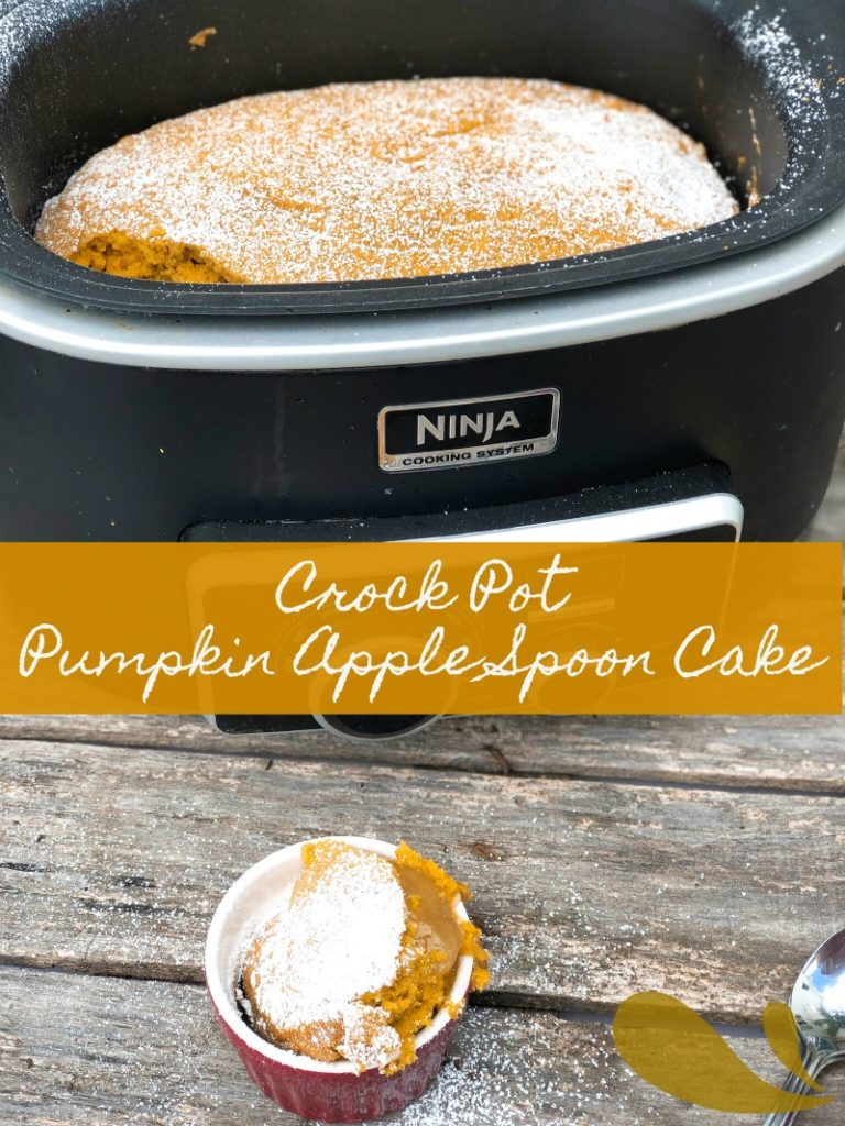 Crock Pot Pumpkin Apple Spoon Cake from Farmwife Feeds is a simple no fail fall dessert recipe to please everyone. #pumpkin #apple #crockpot #recipe