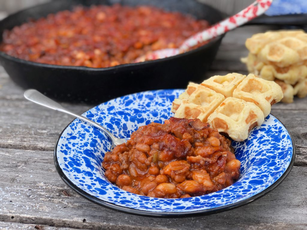 Over The Top Double BBQ Baked Beans from Farmwife Feeds is a great meal or pitch-in potluck favorite everyone will love! #beans #bakedbeans