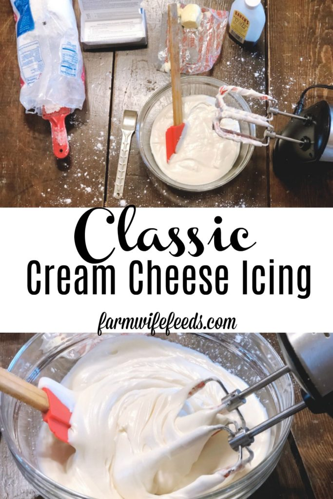 Classic Cream Cheese Icing from Farmwife Feeds is an easy icing to mix up for almost any sweet that needs a creamy icing to top it off. #creamcheese #icing #recipe