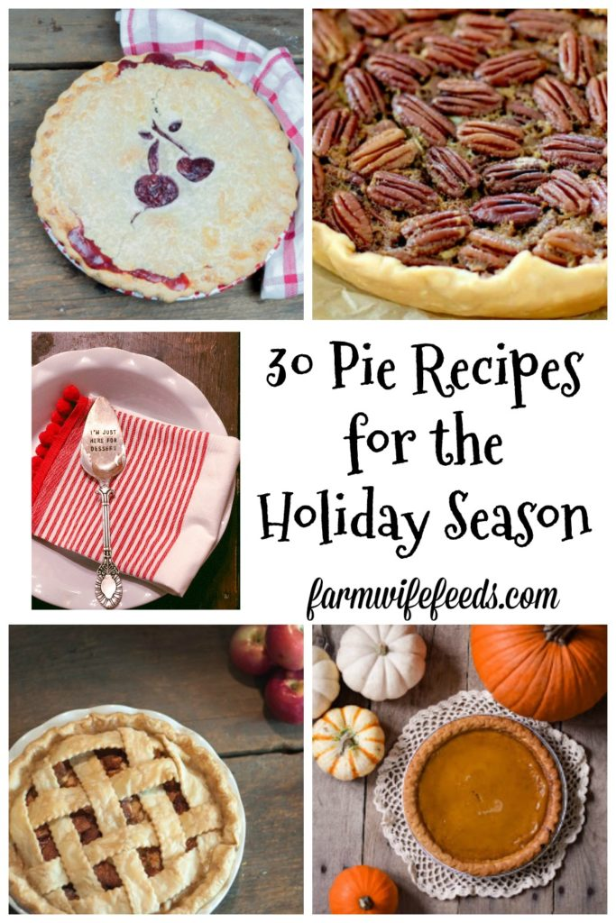 30 Pie Recipes for the Holiday Season gathered by Farmwife Feeds features some of the greatest farmhouse cooks and our friends! #recipe #pie