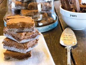 Bakery Brownies at Home from Farmwife Feeds are a fudgy big batch recipe with chocolate icing and sugar coated bottoms. #brownies #bakery #recipe #chocolate