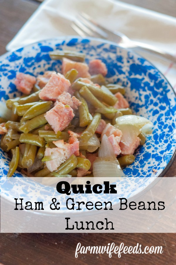 Quick Ham and Green Beans Lunch from Farmwife Feeds is a great easy meal using canned green beans and leftover ham. #recipe #ham #pork