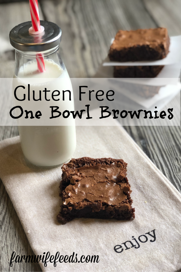 Gluten Free One Bowl Brownies from Farmwife Feeds are decadent rich brownies made with oat flour instead of wheat flour but you will never taste the difference! #glutenfree #brownies #onebowlbrownies #chocolate #recipe