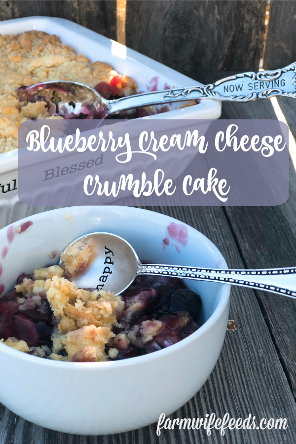 Blueberry Cream Cheese Crumble Cake from Farmwife Feeds is the simplest recipe for delicious homemade dessert. #blueberries #dessert #creamcheese #cakemix