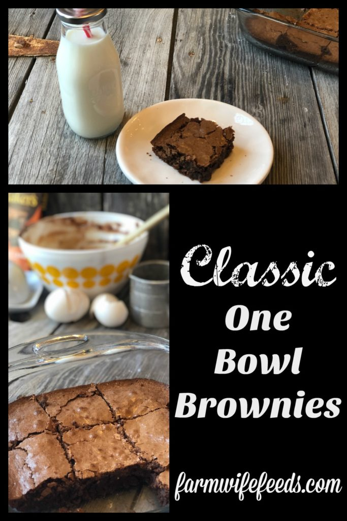 Classic One Bowl Brownies from Farmwife Feeds using pantry ingredients and refrigerator staples that are easy to make. #brownies #recipe #chocolate