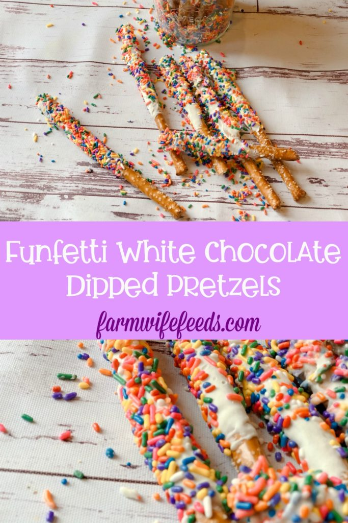 Funfetti White Chocolate Dipped Pretzels from Farmwife Feeds are full of sprinkle, white chocolate, cake mix and the saltiness of the pretzel for a fun snack or treat. #whitechocolate #sprinkles #saltysweet #pretzel #treat