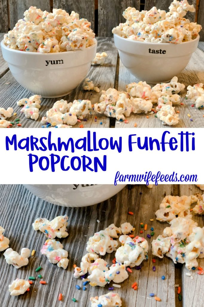 Marshmallow Funfetti Popcorn from Farmwife Feeds is a sweet, salty, sticky, full of sprinkles treat. #popcorn #sprinkles #marshmallow