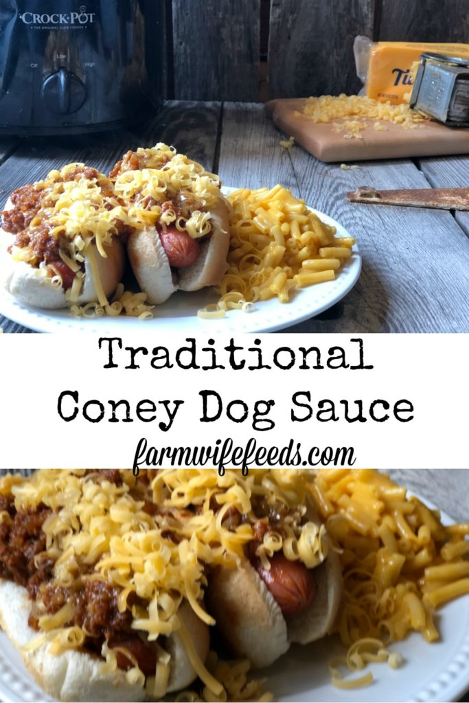 Traditional Coney Dog Sauce from Farmwife Feeds uses basic ingredients that simmer in the crockpot to make meat mixture perfect on hotdogs. #coneydog #crockpot #beef #hotdog