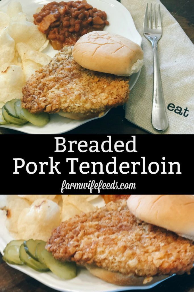 Breaded Pork Tenderloin from Farmwife Feeds is a crispy juicy classic sandwich with a cracker breading. #pork #sandwich #tenderloin