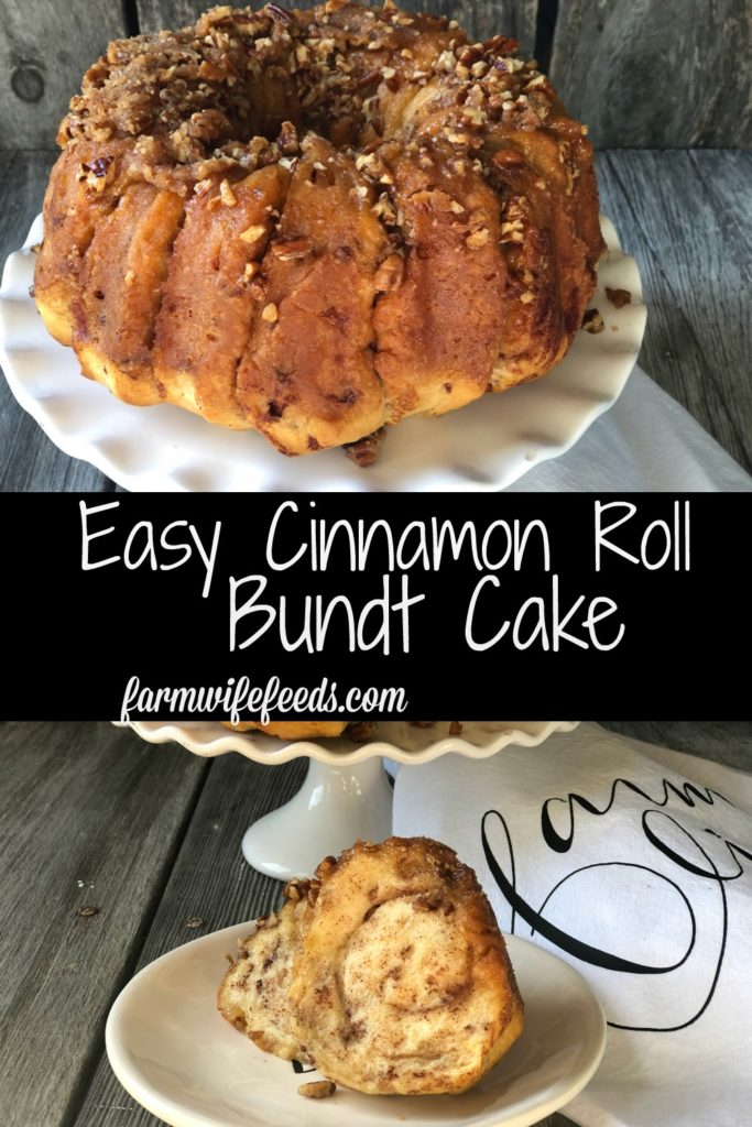 Easy Caramel Cinnamon Roll Bundt Cake from Farmwife Feeds makes a pop can of cinnamon rolls into a delicious easy bundt cake with a caramel glaze and pecans. #cinnamonrolls #bundtcake #easybreakfast