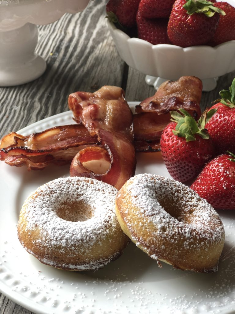 Homemade Rhubarb Donuts from Farmwife Feeds are super simple ingredients for a fresh baked donut full of rhubarb flavor that makes a great treat. #donut #homemade #bakeddonut #rhubarb
