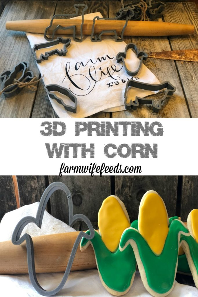 3D Printing with Corn from Farmwife Feeds, cookie cutters made with a corn byproduct plastic that is eco friendly and renewable. #3Dprinter #corn #renewable