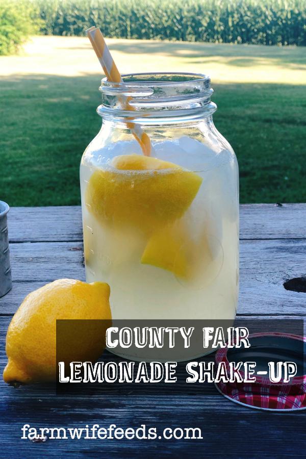 County Fair Lemonade Shake-Up from Farmwife Feeds is a simple fresh lemon drink that tastes like summer. #lemonade #fair #summerdrink
